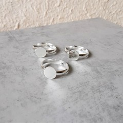 Silver colour Adjustable Ring Band with Cabochon Tray , Handmade Jewelry making