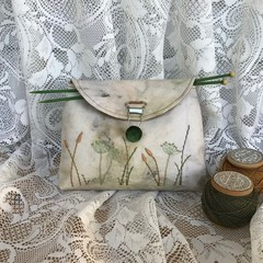 Project Bag, Small Pouch, Gift Bag, Eco Printed, Hand stitched, Embroidered Wild