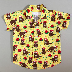 Christmas  button up shirt boys short sleeve casual Sizes 1-5 Tassie Devil
