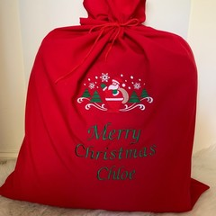 Personalised embroidered Santa Sack large size, choice of design