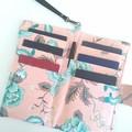 Fabric Travel Organizer / Pink x Green - Botanical / Family passport holder