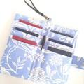 Fabric Travel Organizer / Baby blue - botanical / Family passport holder