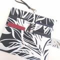 Fabric Travel Organizer / Navy x white - leaves / Family passport holder