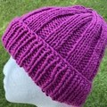 Pink cotton vegan knitted beanie mens or ladies vegan friendly