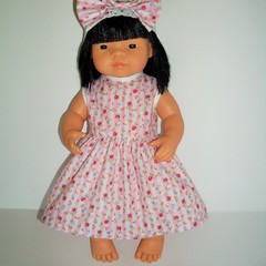 Miniland dolls dress and headband 38cm dolls clothes