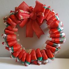 Handmade Ribbon Wreath - Holly Jolly