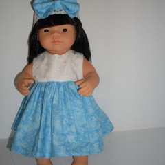 Miniland doll clothes dress and hat set for doll 38cm