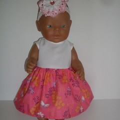Dolls clothes a  Dress and elasticated lace headband for Baby Born doll