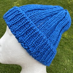 Blue cotton vegan knitted beanie mens or ladies vegan friendly