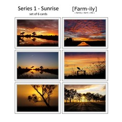 Set of 6 Rural Sunrise Photo Greeting Cards