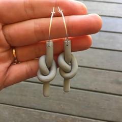 Knotted Twist Earrings - Matte Grey