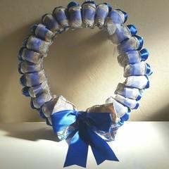 Handmade Ribbon Wreath - Blue Christmas
