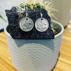 Australian Threepence Hook Earrings. *925 silver french Hooks