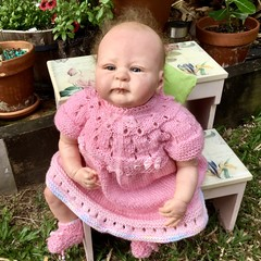 Enchanted DRESS and BOOTIES ~ Handknitted for baby