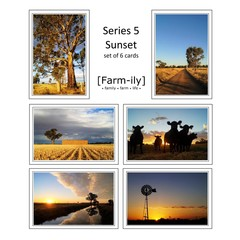 Set of 6 Rural Sunset Photo Greeting Cards