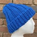 Blue cotton vegan knitted beanie mens or ladies vegan friendly