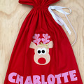 Personalised Santa Sacks - reindeer - Christmas - Santa