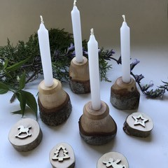 Toysofwood - Natural wooden Candle holder set of four