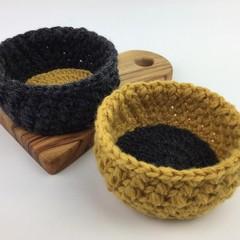 Pair Crochet Trinket Basket | Charcoal | Mustard | Hand Crocheted | Wool | Bowls