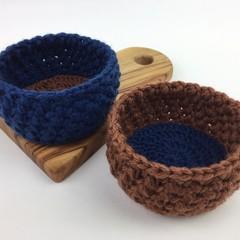 Pair Crochet Trinket Basket | Navy | Copper | Hand Crocheted | Wool | Bowls