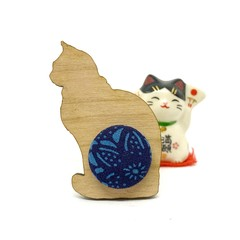 Kimono Cat Brooch - Royal Blue