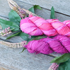 Double Lot Recycled Silks Pink Flamingo Flutter ~ 2 x 100gram Skeins.