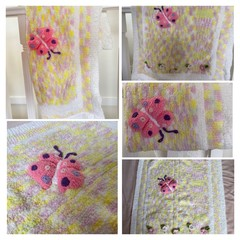 Gorgeous Pink/Yellow/White Baby blanket to wrap your little one in