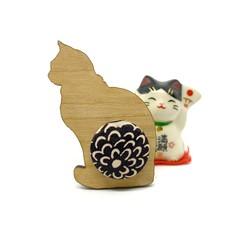 Kimono Cat Brooch - Black