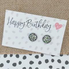 Glass dome stud earrings Lime green leopard print