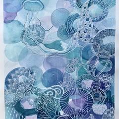 Reef blues - original watercolour