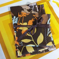 Handy Bags- Orange, yellow, blue modern print on brown