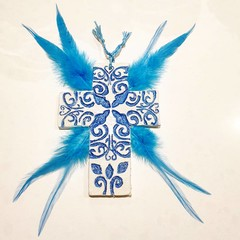 Wall Art - Blue Feather Sigil Cross