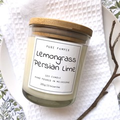 1 free soap included ~ Soy Candle - Lemongrass & Persian Lime | Home Fragrance