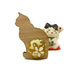 Kimono Cat Brooch - Mustard