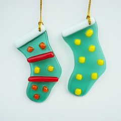 Unique Fused Glass Stocking - Sun Catcher - Xmas Deco