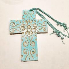 Wall Art - Turquoise Gold Flourish Cross
