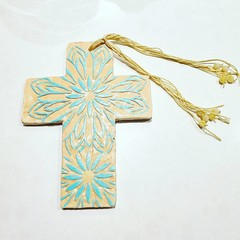 Wall Art - Aegean Wildflowers Cross