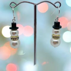 Chubby Snowman Dangle Earrings with Swarovski pearls