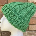 Green cotton vegan knitted beanie mens or ladies vegan friendly