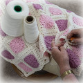 Special price. Cot blanket, Knee rug,  crochet, wool,