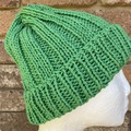 Green cotton vegan knitted beanie mens or ladies vegan friendly