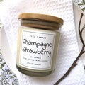 Highly Scented Soy Candle - Champagne & Strawberry | Fruity bubbling Fragrance