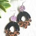 Arch Flower, Genuine Leather Earrings, Leopard/Black