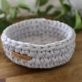Light Grey-Crochet Basket/Tray- Mid/Medium size-home decor-recycled tshirt yarn