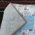 Sweet Baby Boy Quilt, Cot Size or Play Mat, Handmade, Cotton Fabric