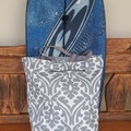 CORAL GREY AND WHITE XL REVERSIBLE TOTE/BEACH BAG