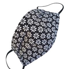 REVERSIBLE Triple Layer Face Mask - 100% cotton fabric - MONOCHROME DAISIES