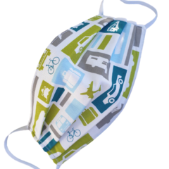 REVERSIBLE Triple Layer Face Mask - 100% cotton fabric - Let's Go! in Green