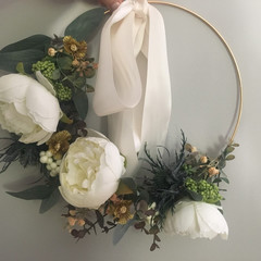 Christmas Peony Eucalyptus and Mixed Berries Artificial Hoop Wreath