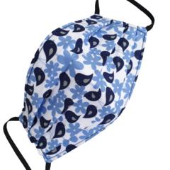 REVERSIBLE Triple Layer Face Mask - 100% cotton fabric - Bluebird Bliss